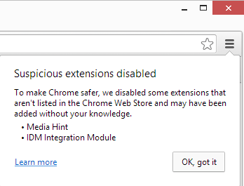 suspicious extension disabled