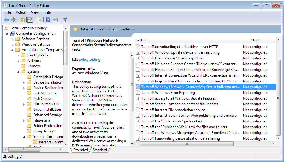 Disable or customize Windows' Internet Connection test to improve