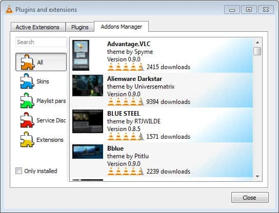 VLC 2.2 addons manager