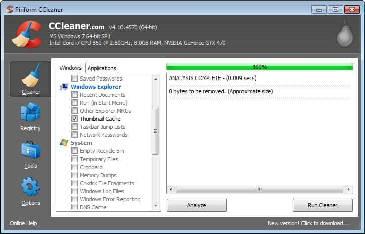 ccleaner thumbail cache