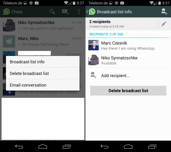How broadcasts differ from group chat on WhatsApp - gHacks Tech News
