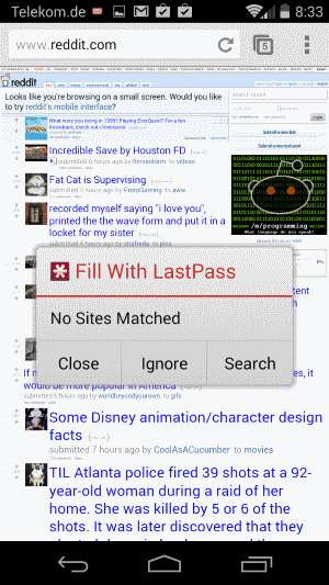 lastpass android fill window