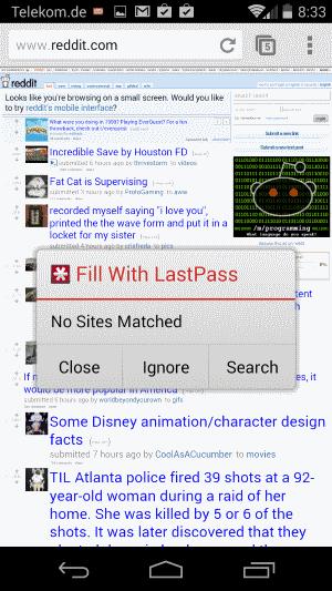lastpass android fill window