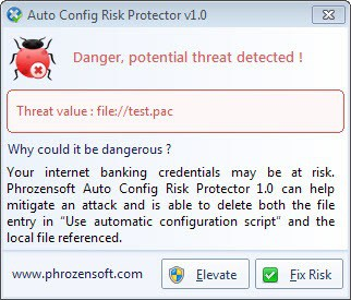 proxy auto config risk protector