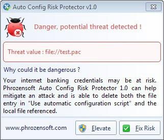 proxy auto config risk protector