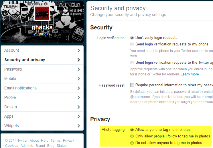 twitter photo tagging privacy