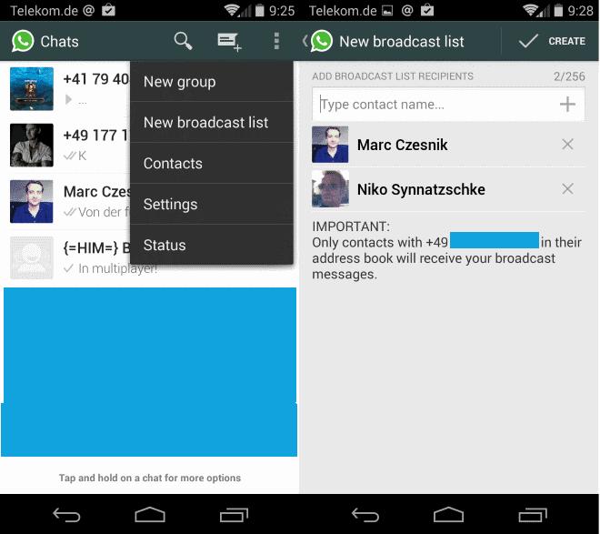 whatsapp broadcast lists