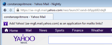 Yahoo mailto prompt