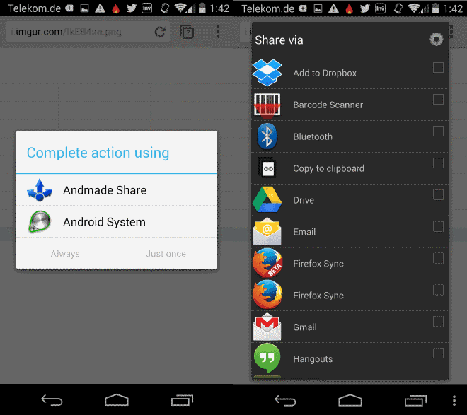 andmade share interface android