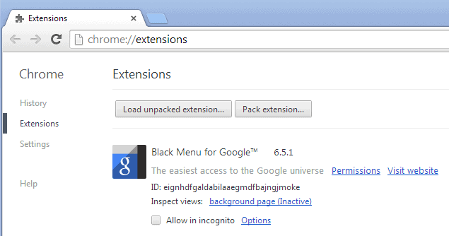 chrome extension id