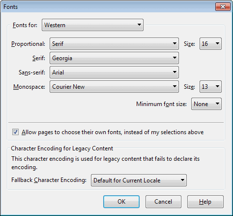 firefox fonts configuration