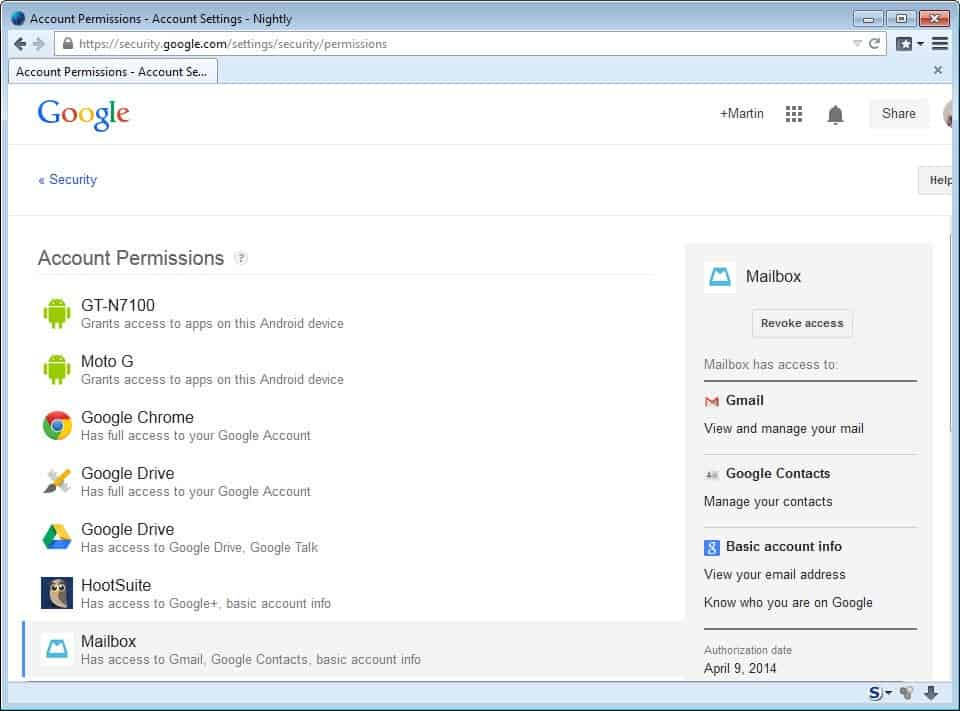 mailbox google account access