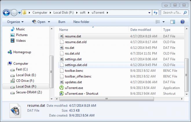 utorrent resume session