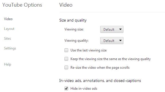 youtube options