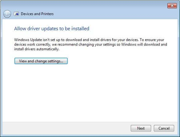 allow driver updates to be installed