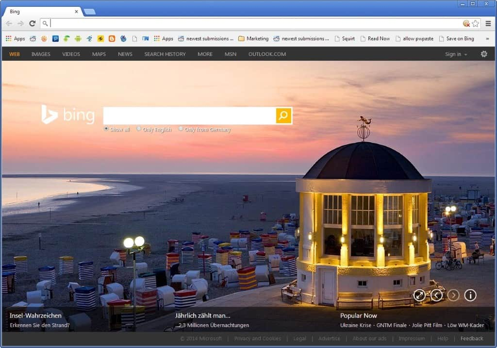 Selecting Bing search in Chrome Canary changes New Tab Page