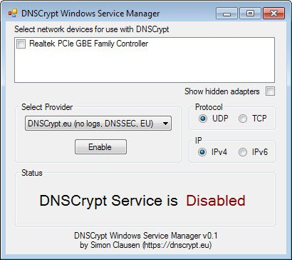 dnscrypt windows service manager