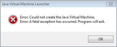 error could not create java virtual machine