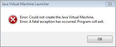 error could not create java virtual machine