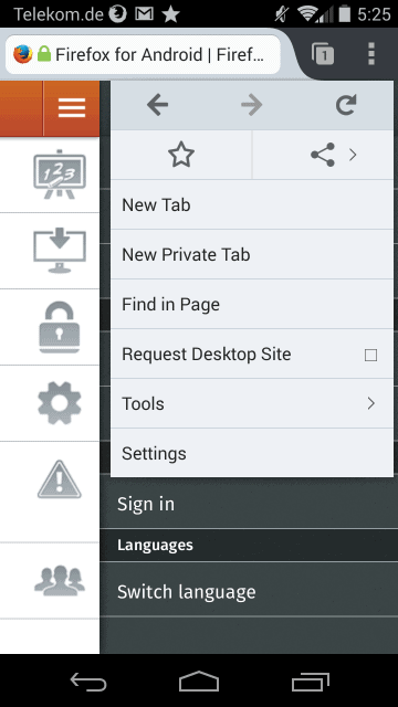 firefox android menu