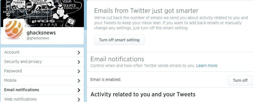 How to disable Twitter email notifications