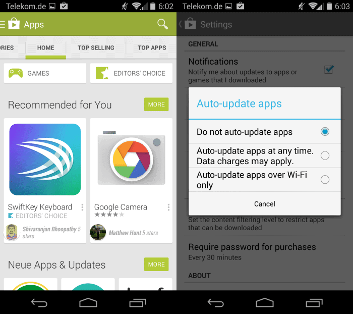 how to stop automatic app update android