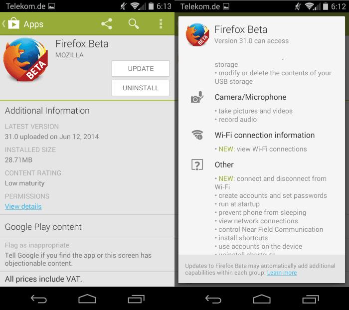 app permissions update