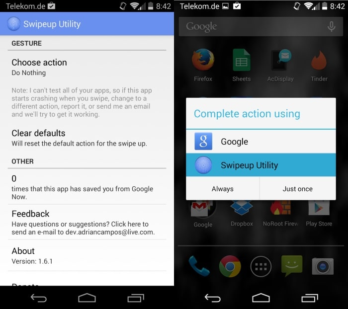 disable google now swipe android