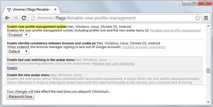 chrome profile management