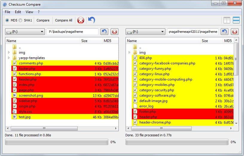 compare files
