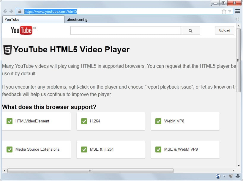 How to enable MSE & H2.64 support on YouTube for Firefox right now