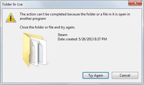 folder in use