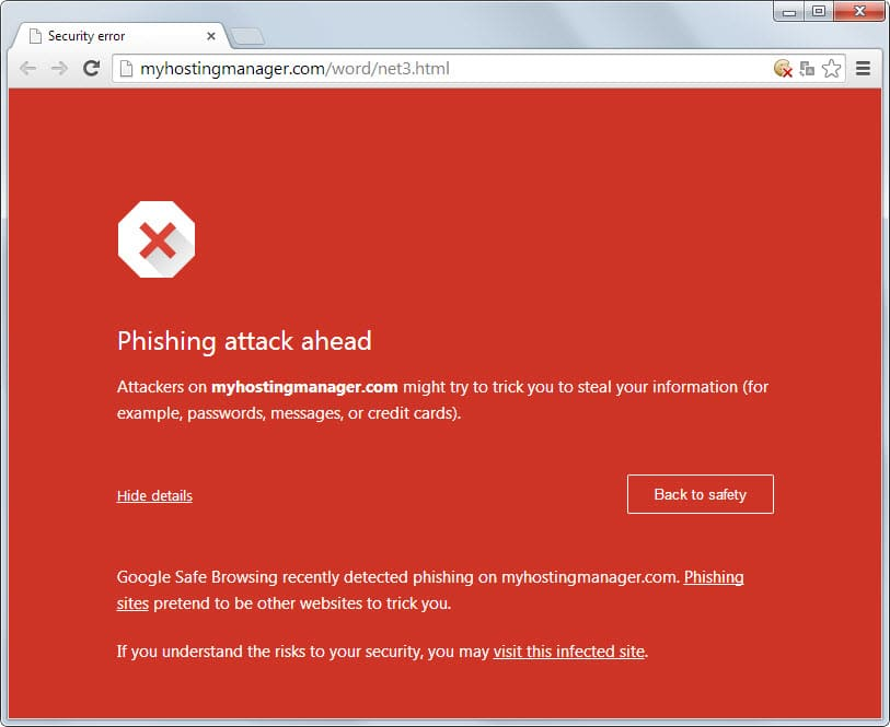 google phishing attack warning