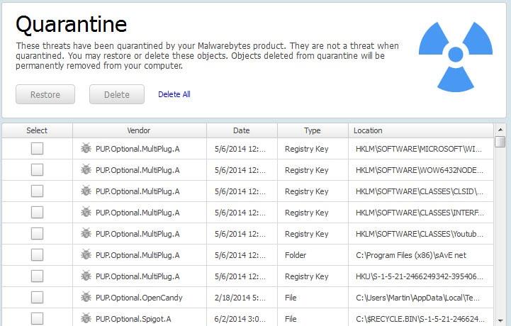 screenshot showing PUP detections