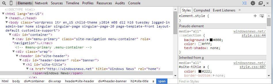 modify website developer tools