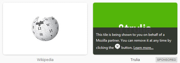 Sponsored Tiles in Firefox, here they are