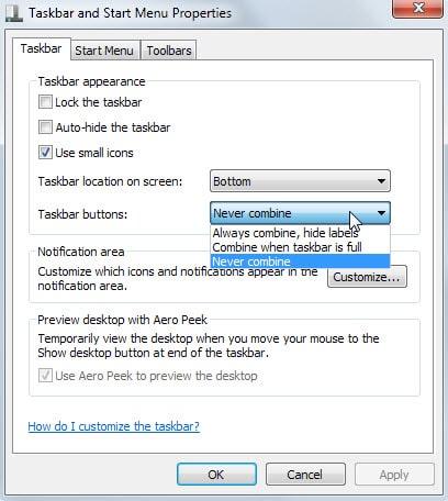 taskbar buttons