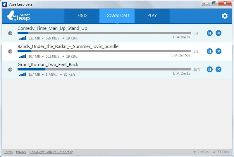 A first look at Vuze Leap, a lightweight torrent client with