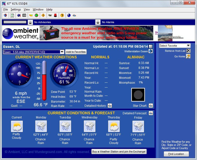 The best desktop weather programs for Windows - gHacks Tech News