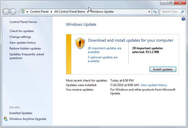 windows update august 2014