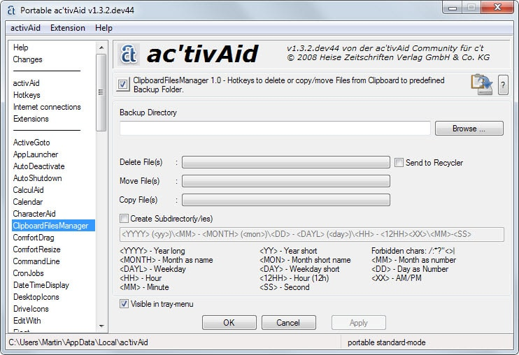 activeaid settings