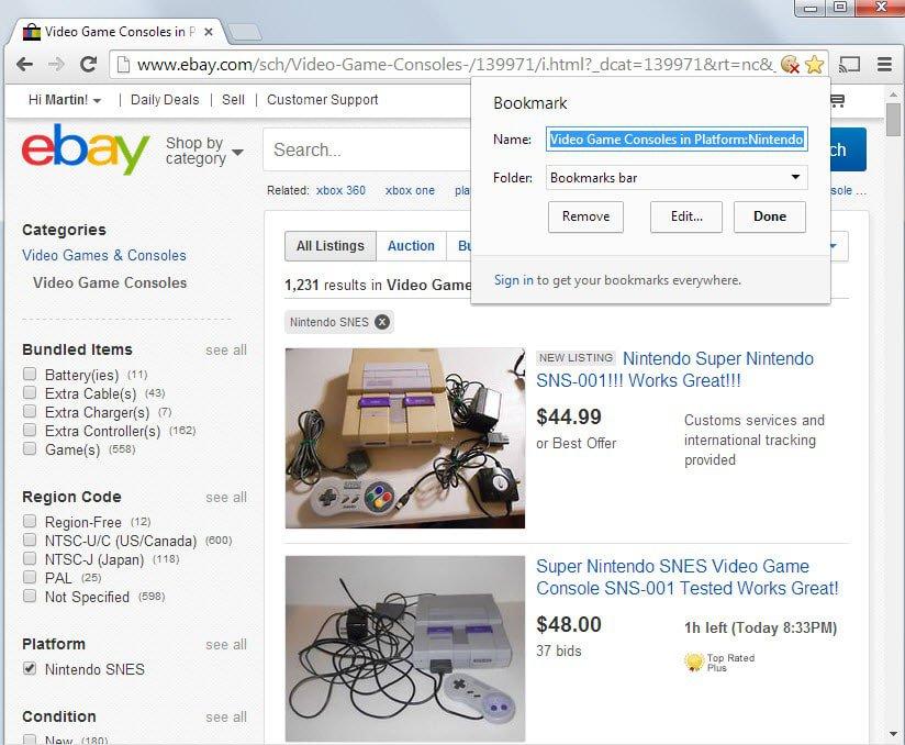 bookmark ebay search