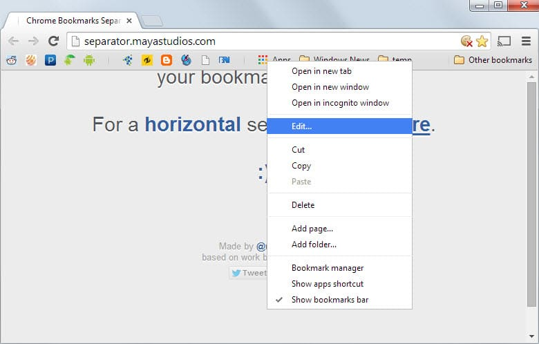 chrome bookmarks bar