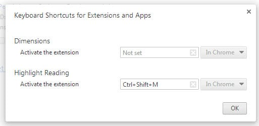 chrome keyboard shortcuts toggle extensions
