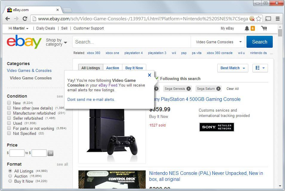 Save eBay searches for fast future access