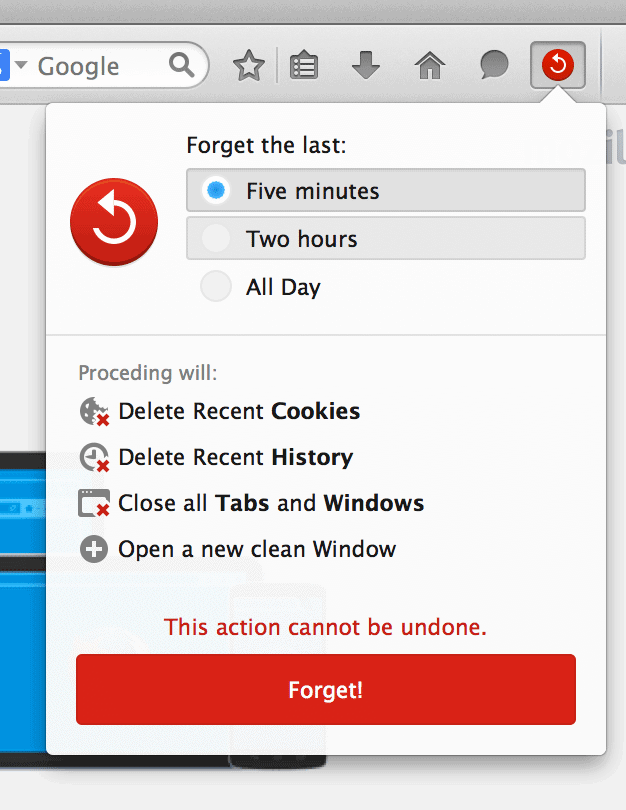 firefox forget button