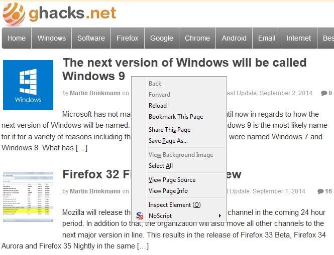 firefox text context menu
