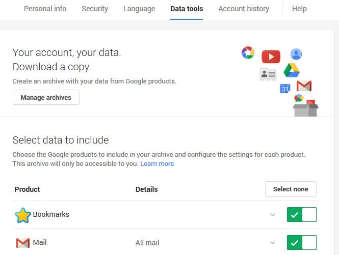 This is how the new Google Takeout looks like