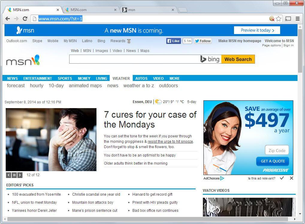 old msn homepage