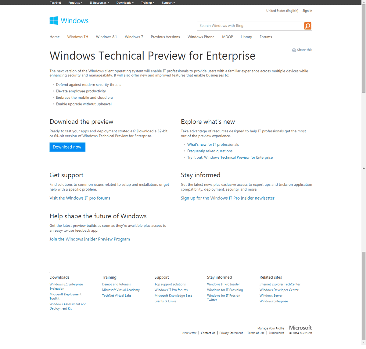 Windows Technical Preview information to give you a head start